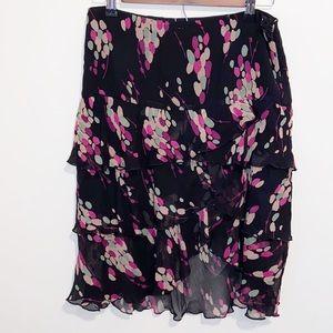 Club Monaco Silk Black/pink print Ruffled Skirt